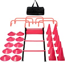Pink Fitness & Agility Ladder Training Equipment Set – Ladder, 10 Cones, 10 Disc Cones, 6 Hurdles, & Carry Bag - Strength,...