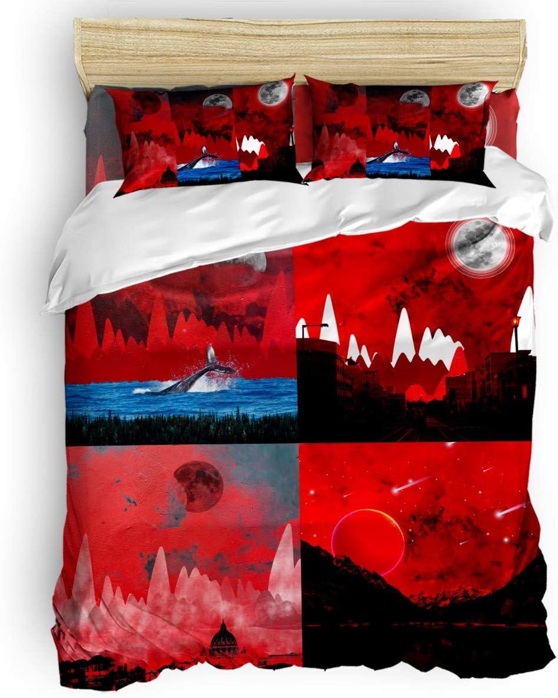 LBHAUSE 4 Popular popular Pieces Bedding Bed Sheet Reservation Comforter Microfiber Set Soft