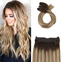 Moresoo 16 Inch Real Wire Hair Extensions 80 Grams Hidden Crown Hair Extensions Color 3 Brown to 8 Light Brown Mixed with 22 Blonde Halo Remy Hair Extensions