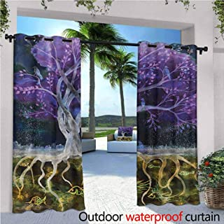 Jktown Tree of Life Outdoor Grommet Top Curtain Panel Psychedelic Magical Mysterious Tree at Night with Birds and Fishes and Birds Life Home for Patio/Front Porch 120x108 INCH,Multi