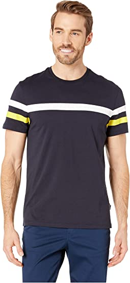 Short Sleeve Solid Printed Color Blocked Crew