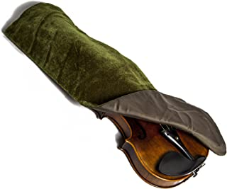 Luxurious Hand Made Satin Fabric Violin Blanket for 4/4 Full Size Violin (Olive)
