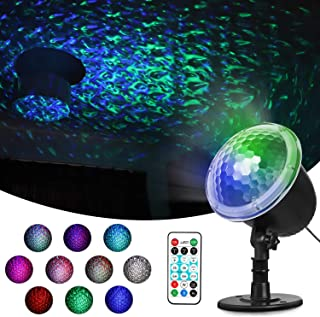 Greatlizard Water Ocean Wave Led Projector Light,Colorful Automatically Moving Night Light Projector Decoration for Christmas Halloween Birthday Wedding Party Indoor Outdoor