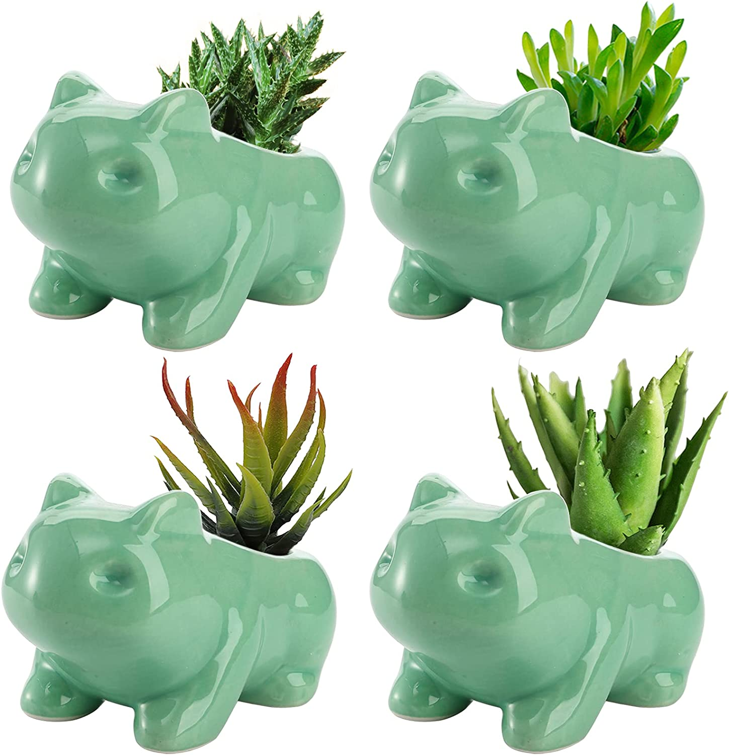 YOUEON Cheap bargain 4 Pack Ceramic Bulbasaur Succulent Max 81% OFF with Drainage Planter