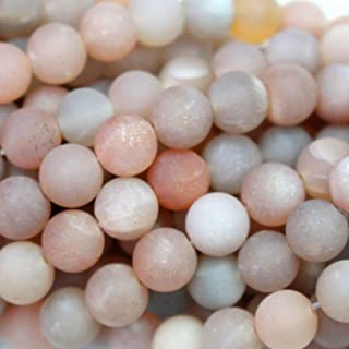 Fashiontrenda Natural Unpolished Matte Moonstone Round Gemstone beads for DIY Jewelry Making (8mm)