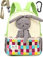 Canvas Small Toddler Kids Backpack with Leash Daycare Rabbit Boy Neutral (Green)