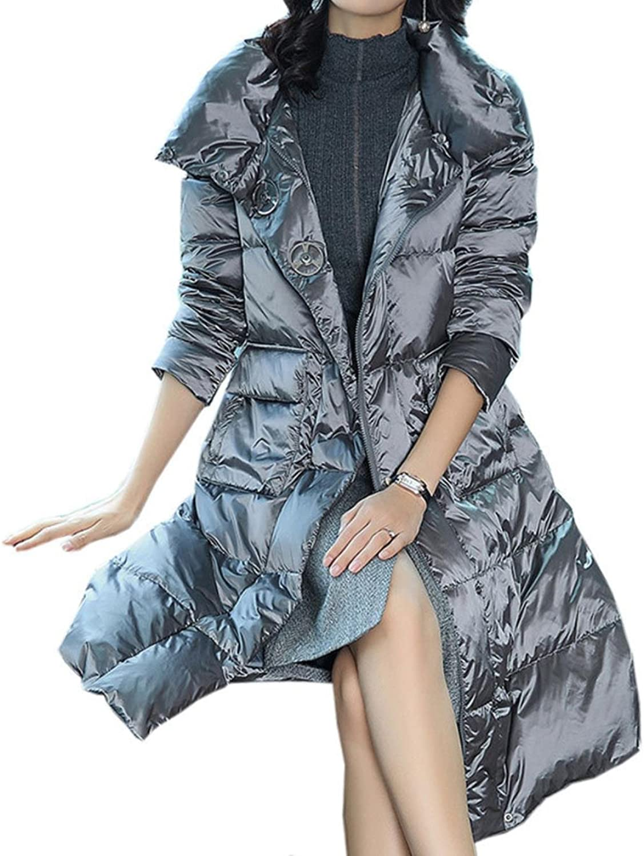 BRJKDE Womens Down Jacket Long Warm Winter Waist Belt Jackets