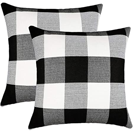 4TH Emotion Set of 2 Farmhouse Buffalo Check Plaid Throw Pillow Covers Cushion Case Polyester Linen for Fall Home Decor Black and White, 18 x 18 Inches