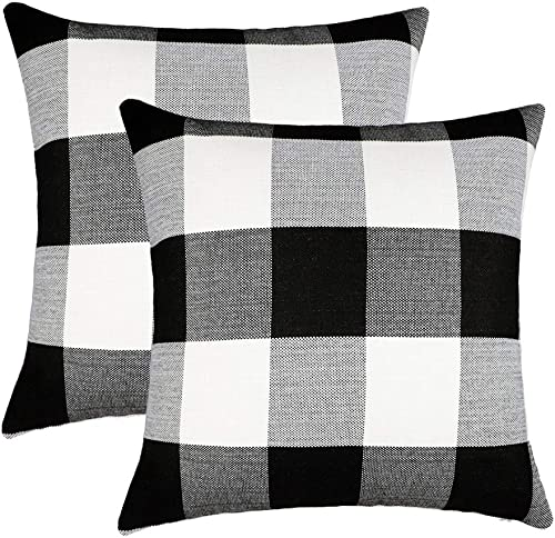 4TH Emotion Set of 2 Farmhouse Buffalo Check Plaid Throw Pillow Covers Cushion Case Cotton Linen for Fall Home Decor ...