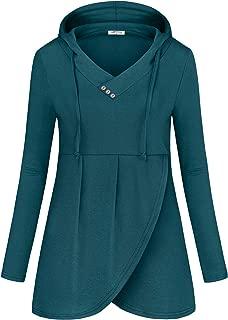 SeSe Code Women Long Sleeve V Neck Hooded Asymmetric Hem Casual Tunic Sweatshirt