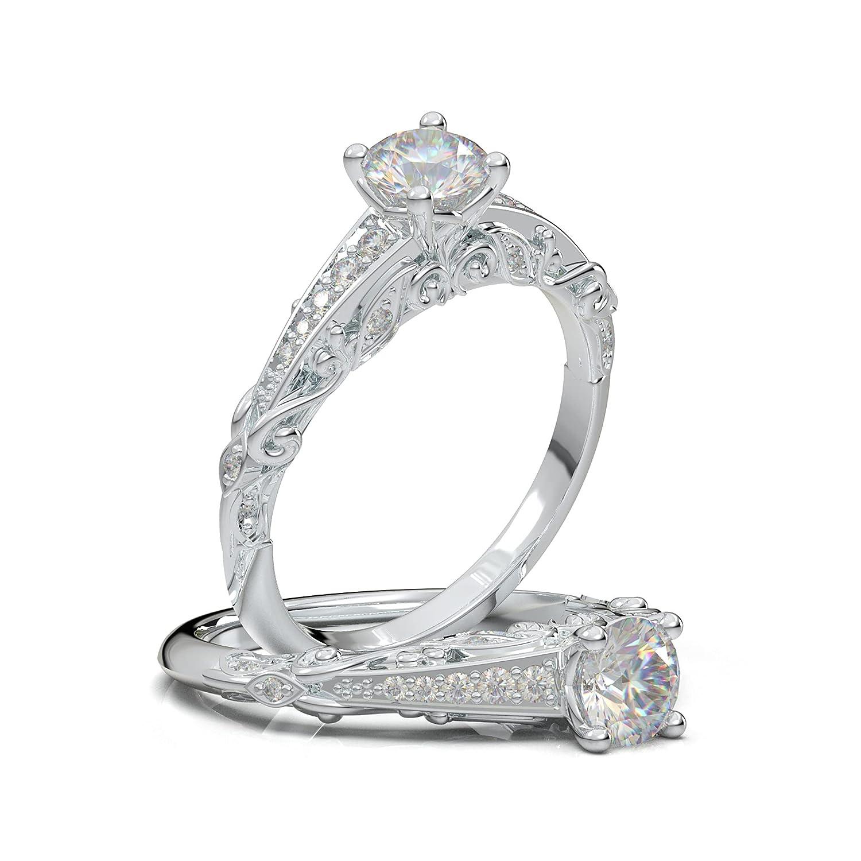 14K White Gold Vintage Engagement Ring Max 51% OFF Floral Filigree Leaf Fees free