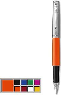 Parker Jotter Originals Pluma Estilográfica, Acabado Naranja Clásico, Plumín Mediano, Tinta Negra Y Azul