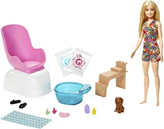 Barbie Mani-Pedi Spa Playset with Blonde Doll, Puppy, 2 Fizzy Packs Create Foaming Foot Bath, Color-Change on Doll's Nails for Repeat Manicures and Pedicures, Gift for Kids 3 to 7 Years Old