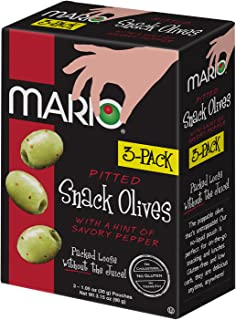 Mario Camacho Foods Green Pitted Snack Olive Tripack with Savory Pepper, 3.15 Ounce