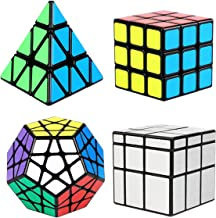 Aitey Magic Cube Set, Cube Bundle 3x3 Cube, Pyramid Cube, Megaminx and Mirror Cube Speed Puzzle Collection for Kids (4 Pack)