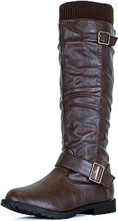 حذاء برقبة طويلة حتى الركبة مكتنزة من صوف محبوك دافئ للنساء
