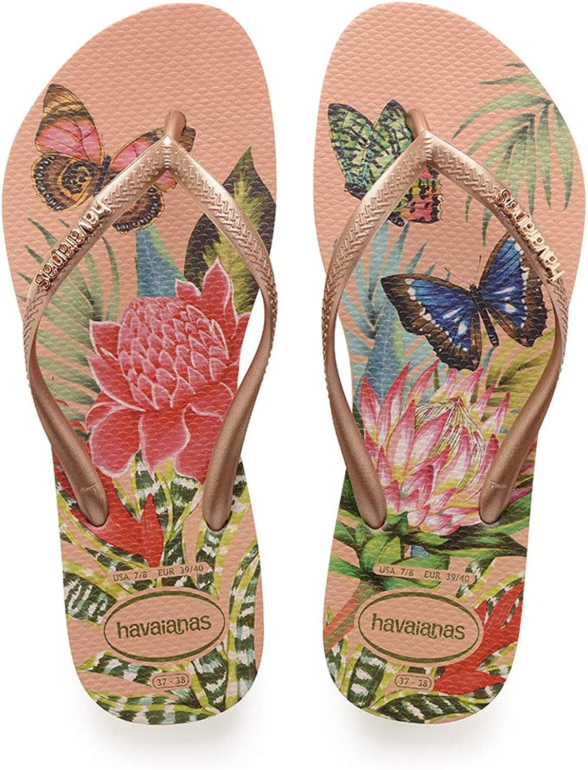 Havaianas Slim Tropical Salmon Nude Rubber Adult Flip Flops Sandals