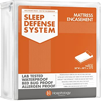 "HOSPITOLOGY PRODUCTS Sleep Defense System - Zippered Mattress Encasement - Twin XL - Hypoallergenic - Waterproof - Bed Bug & Dust Mite Proof - Stretchable - Standard 12"" Depth - 38"" W x 80"" L"