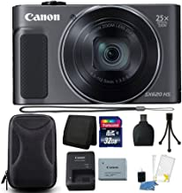 Canon PowerShot SX620 HS 20.2MP 25X Zoom WiFi Digital Camera + 32GB Memory Card + Wallet + Reader + Hard Shell Case + 3pc Cleaning Kit + Small Tripod