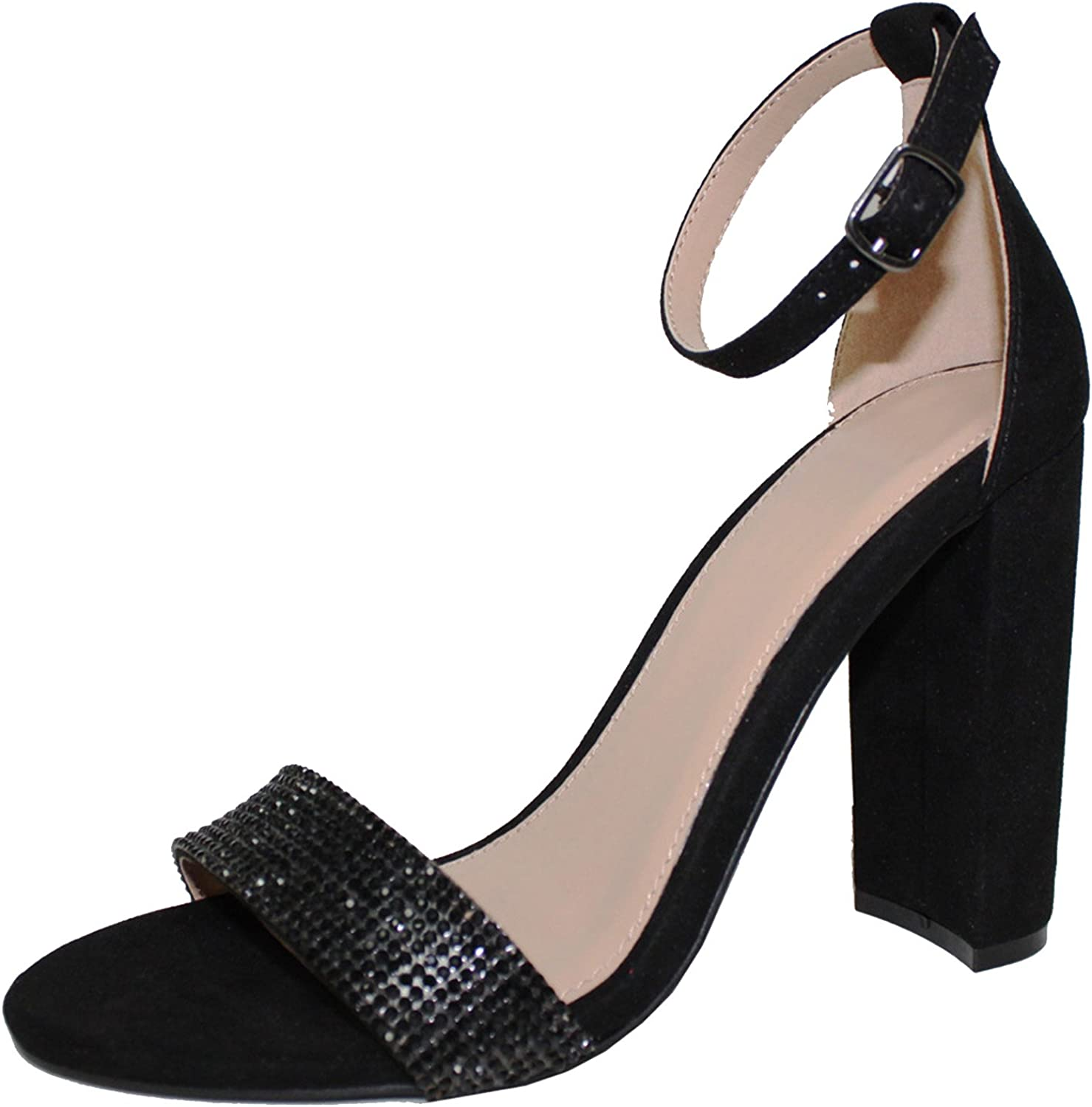 Cambridge Select Women's Open Toe Rhinestone High quality Crystal Ankle Many popular brands Strap
