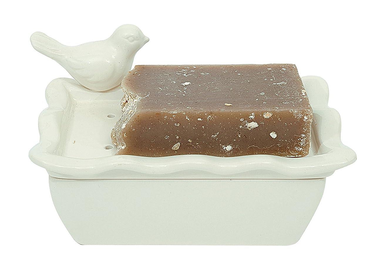 手を差し伸べる頭痛測定Shabby Chic Bird Soap Dish with Removableトレイ