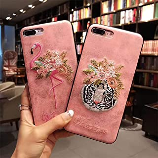 スマホケース iPhone7 iPhone8 iPhonex iPhone ケース iPhone6 6 6Plus 7 7Plus 8 8Plus スマホケース x iPhoneケース iphoneカバー かわいい スマホカバー おしゃれ フラミンゴ タイガー アニマル 花 刺繍 ワンポイント ピンク (iPhone7 / iPhone8, フラミンゴ)
