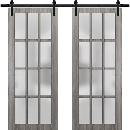 Top Mount Stainless Steel 6.6FT Rail Hangers Heavy Set Solid Panel Interior Doors Lucia 4070 White Silk Sturdy Barn Door 18 x 80 inches Frosted Glass 3 Lites