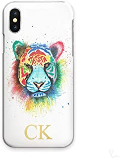Personalized Initials Cell Phone Case for Oppo F3 Plus, Watercolour Art Print, Multicolour Tiger with Custom Yellow Monogram on Hard Cell Phone Cover