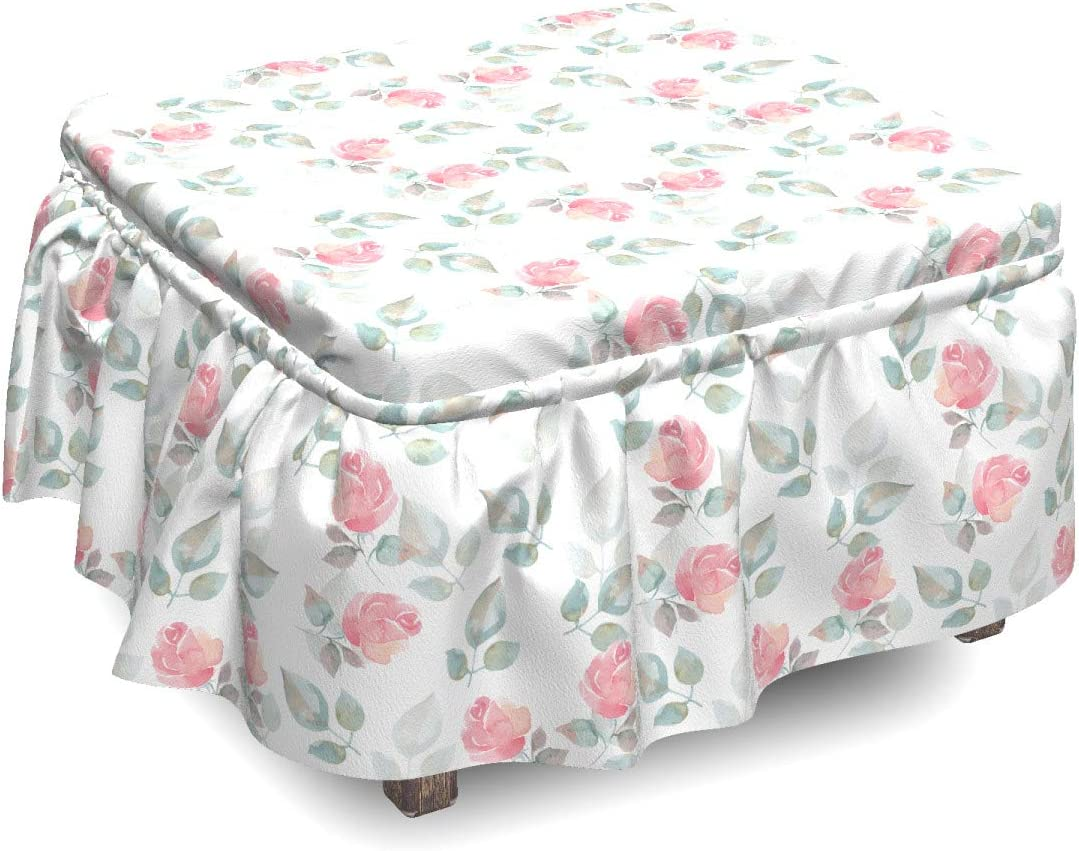 Ambesonne Floral Ottoman Cover Rose Blossoms Petals Milwaukee Mall Sl 2 Chicago Mall Piece