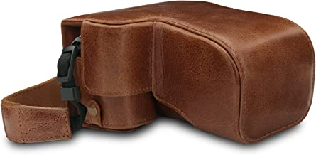 MegaGear Ever Ready Genuine Leather Camera Case Compatible with Sony Alpha A6100, A6400 (18-135mm)