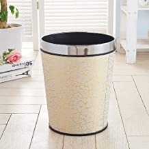 AINIYF Round Small Trash Can Wastebasket, Garbage Container Bin, Open Top Leatherette Trash Can, Small Office Wastebasket ...