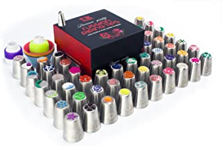105pc Russian piping tips set, 50 numbered stainless steel nozzles, leaf tip, 3-color+ single coupler, 40 pastry bags, silicon bag, 5 cleaning brushes, GIFT box, plastic scissors & 5 silicon cake cups