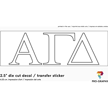 White Officially Licensed Alpha Gamma Delta 8 x 3 Window Decal