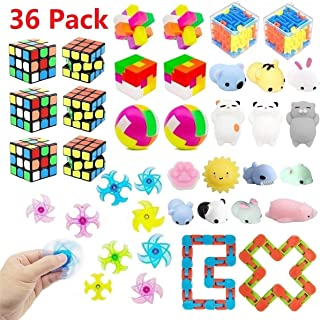 Party Favors for Kids Toy Bundle,Mochi Squishy,Puzzles,Magic Cube,Twister Toys for Birthday Party,Classroom Rewards,Carnival Prizes,Pinata Filler,Treasure Box,Goodie Bag Filler,Prize Box