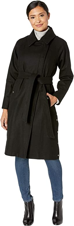 Woodrow Melton Wool Wrap Coat with Side Snap Detail