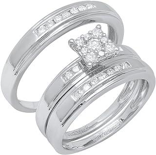 Dazzlingrock Collection 0.60 Carat (ctw) 10K Gold Round White Diamond Men & Women's Ring Trio Set