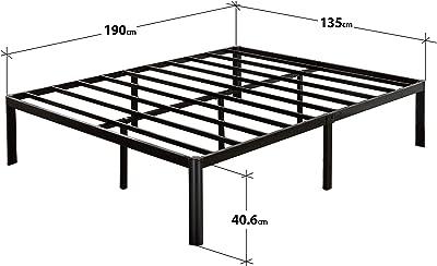 Zinus Korey 35,6 cm Platform Metal Bed Frame with Upholstered Headboard, Double