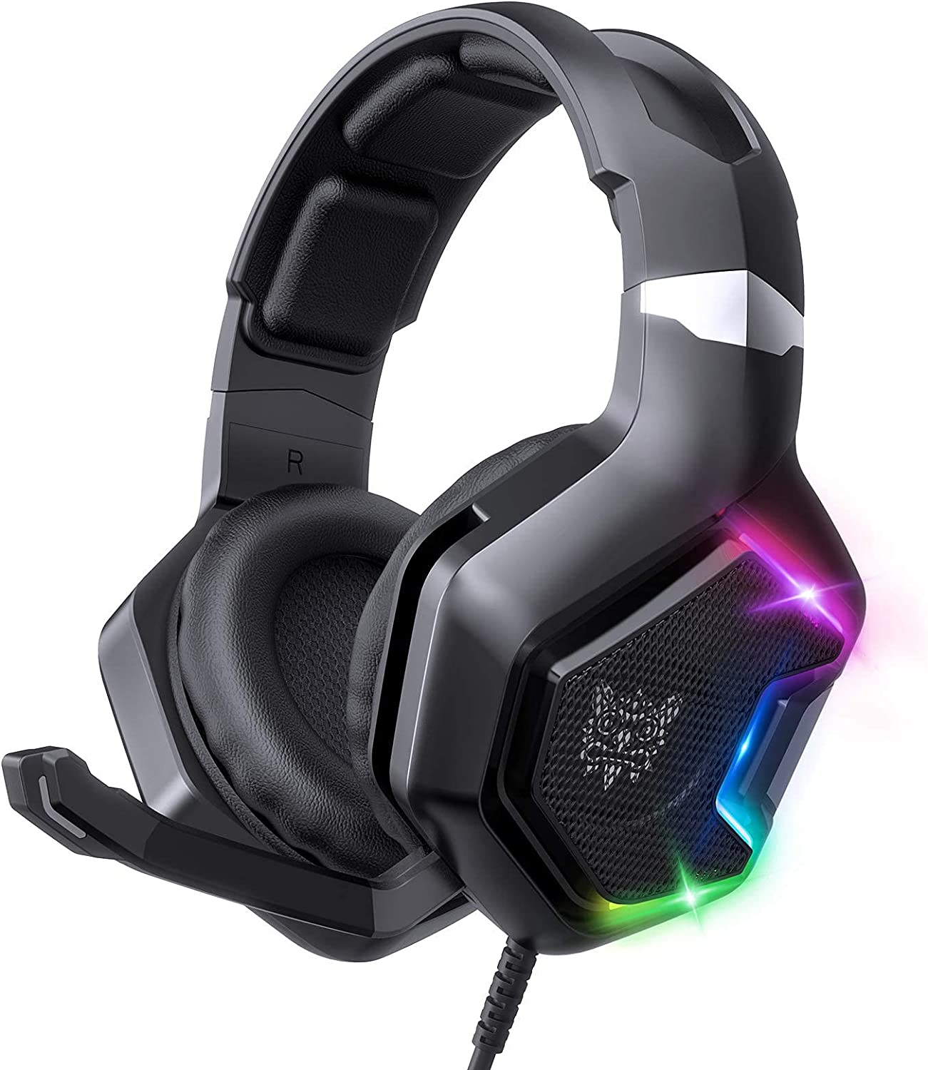 FEIYING Gaming Headset with Noise Canceling Mic RGB LED Light, 7.1 Surround Sound Over Ear Gaming Headphone for PS5 PS4, Laptops, PC, Phones