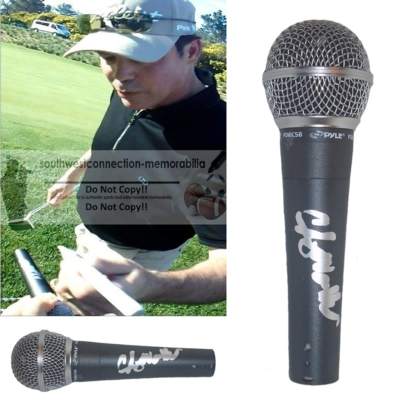 Country Music Star Clay Walker Signed Hand Autographed Microphone with Exact Proof Photo of Clay Signing the Mic, Hypnotize The Moon, Say No More, A Few Questions, Fail, COA