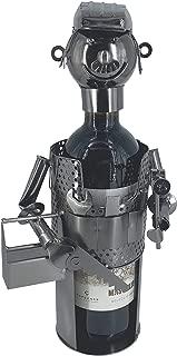 eXODA Porta Botella de Vino Figuras de Metal Artesano Uwe Design Deco