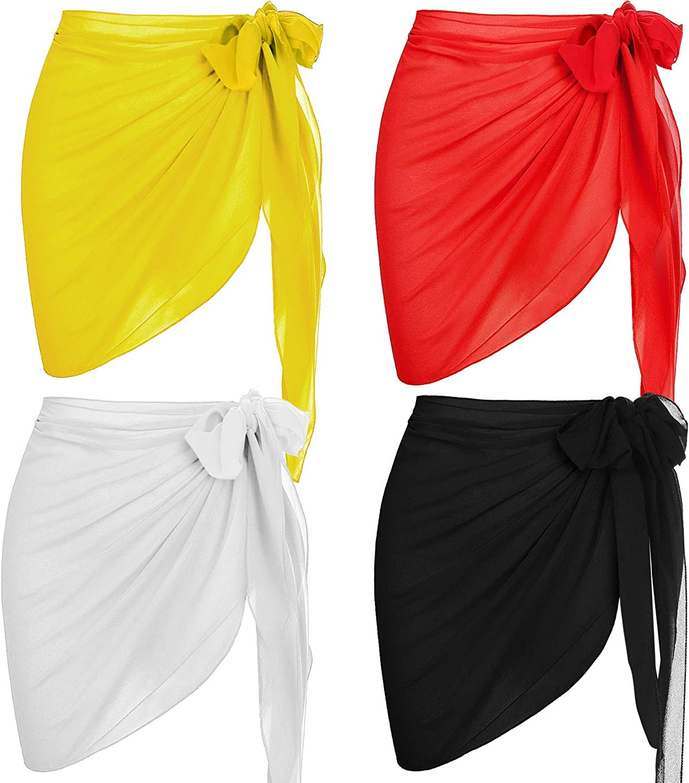 Uaussi 4 Pack Women Short Sarong Beach Wrap Sheer Cover Ups Swimwear Pareo Chiffon Bikini Beachwear Skirts