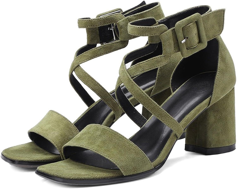 Summer High-Heeled Sandal Leather Sandal Women Leather shoes Office Worker High Heel shoes Buckle (6.5cm Heel) (color   Green, Size   36)