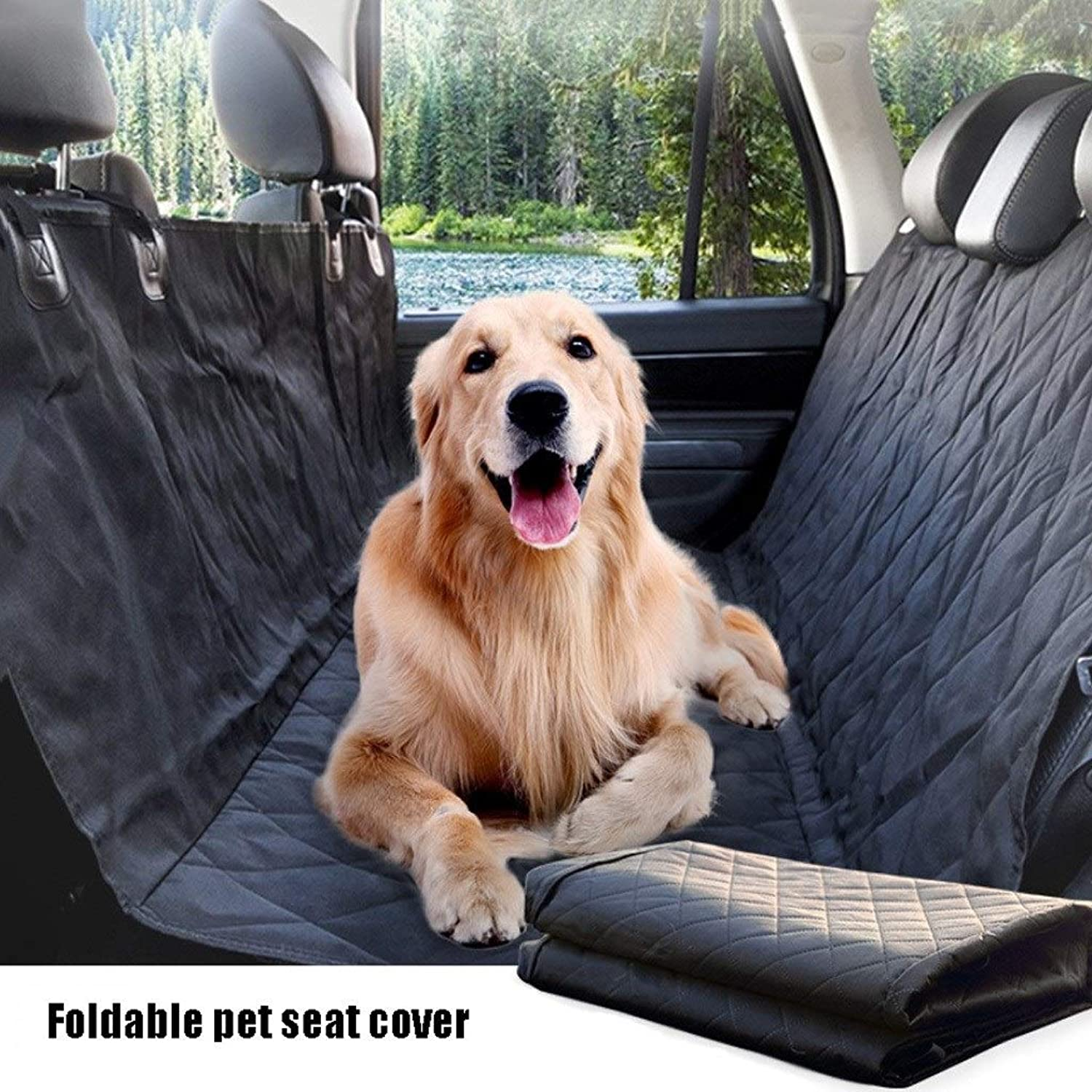 GDZ Dog Car Back Seat Cover Hammock Waterproof, Large Size Universal for Most Cars, Trucks and SUV Duty Scratch Proof Nonslip Durable Soft Pet Car Seat Cover (Design   Without side flaps)