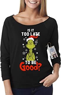 Custom Apparel R Us to Late to Be Good Grinch Christmas Off Shoulder Top