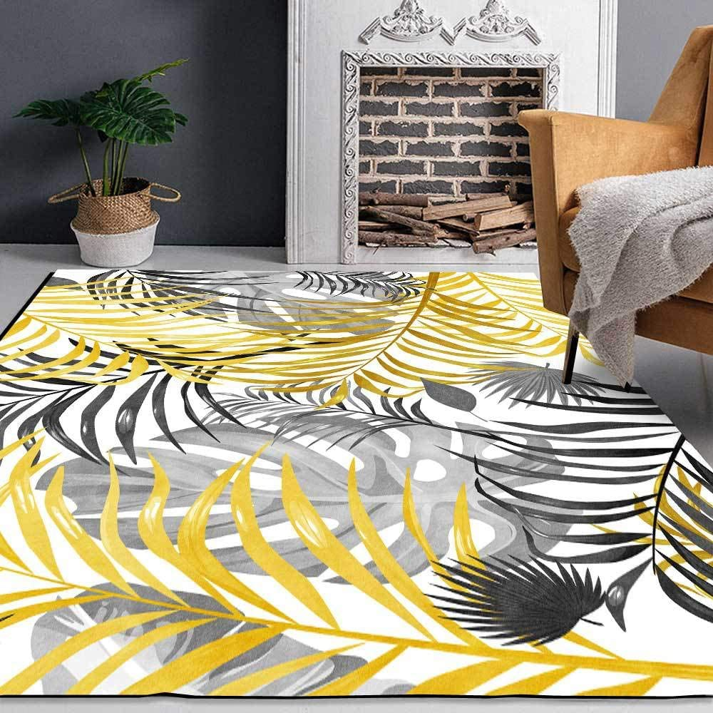 GYMS Modern Carpet Charlotte Mall Fresh Yellow Factory outlet Ash Bedro Leaves Rug for Plant