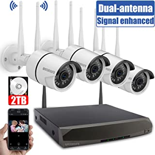 Security Camera System Wireless,8 Channel Home Outdoor Wireless Surveillance Camera System and 4Pcs 960P WiFi Security Weatherproof IP Camera with Night Vision,Remote View,2TB Hard Drive