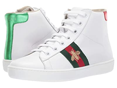 Gucci Kids New Ace High Top Sneaker (Little Kid) (Multi/White) Kids Shoes