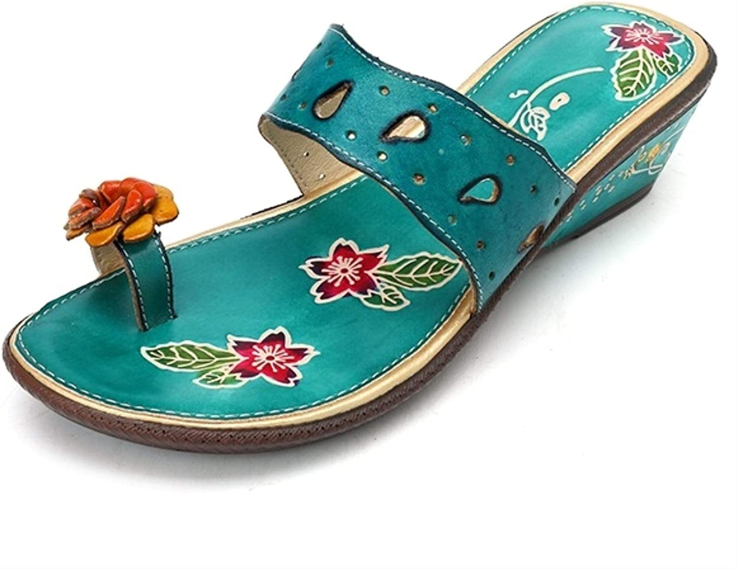 Jc-factory Retro Women Genuine Leather Ring Toe Slippers Wedge Handmade Floral shoes
