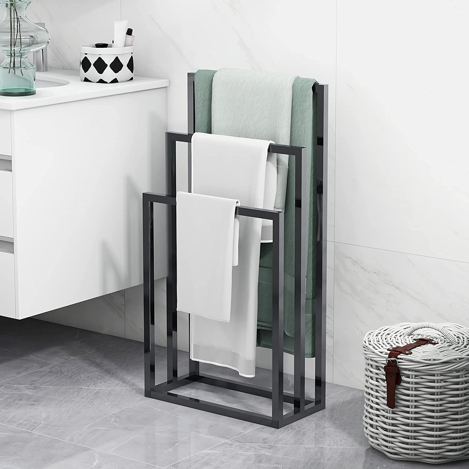 BOFENG 3 Tiers Black Metal Towel Rack Chrome Tall Industrial Modern Freestanding Towel Holder for Bathroom Accessories Organizer for Bath Storage & Hand Towels,Washcloths,Next to Tub or Shower