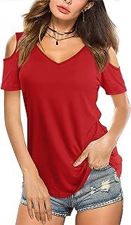Amoretu Womens Summer Tshirts V Neck Cold Shoulder Tunic Tops Blouse Shirts